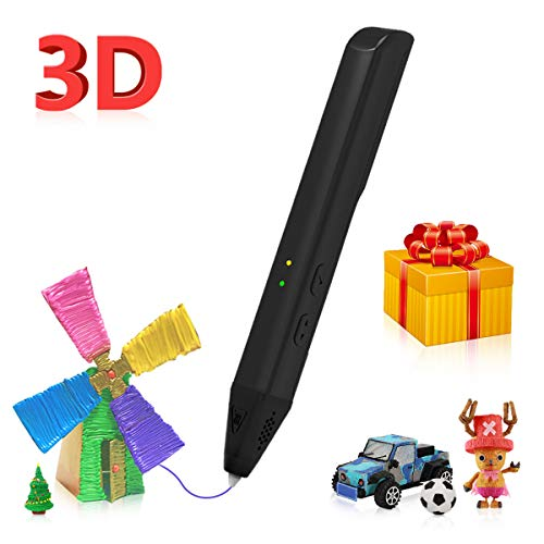 3D Pen 1.75mm,3D Printing Drawing Pen for Arts Crafts DIY Perfect Gift for Kids,Compatible with PLA and PCL Filament,Safe and Easy to Use,Black
