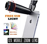 CQLEK™ 12X Optical Zoom Telescope Lens for Mobile Camera with Adjustable Clip Compatible