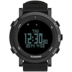 SUNROAD 2017 New Arrival Outdoor Sports Watch Men FR851B Altimeter Barometer Compass Pedometer Clock With High Quality Nylon Strap