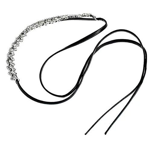 Femme Alliage Section Longue Collier Diamant Princesse Exagérée Multicouche Réglable De La Chaîne De La Clavicule Black