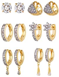Youbella Combo Of Trendy American Diamond Earrings For Women