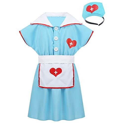 chen Krankenschwester Kostüm Arztkittel Arzt Outfit Kleid mit Haarband Schürze Set für Halloween Party Cosplay Kostüm Hellblau 116-128/6-8Jahre ()