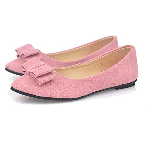 Sandalen Damen,Binggong Frauen Ballett Schuhe Arbeit Wohnungen Fliege Slip Bowknot Schuhe Boot Bequeme Schuhe Mode Sandalen Reizvoller Berufssandale Stilvoll Atmungsaktiv Badeschuhe (Rosa, 37) (Heels Ballett Knoechelriemchen)