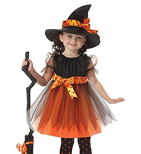 Hexe Glenda Kinderkostüm für Mädchen Süßes Halloween Kostüm Halloween Weihnachten Kostüm Orange Hexenkleid und Hut
