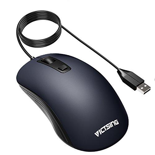 VicTsing Mouse USB con Cavo 4 Pulsanti, Ergonomico Ambidestro, 3 Livelli DPI Regolabili (1000/1600/2000) per Computer Portatili e Notebook, Blu Scuro
