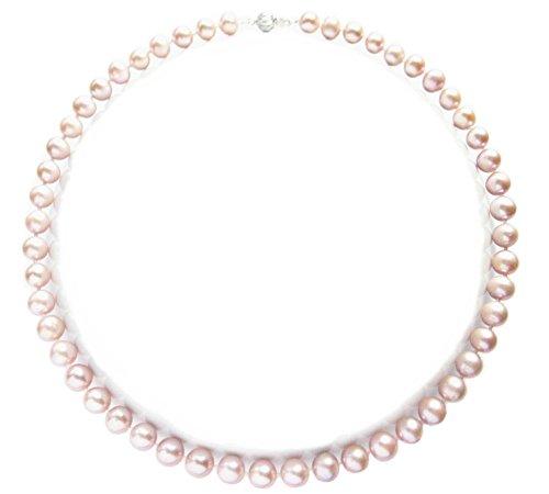 Zuchtperle, rund, 45,7 cm, AAA, Duft: Lavendel, natürliche Süßwasserperlen Luxus Halskette Kettenlänge 46 cm, mit Geschenkbox, Geschenkidee