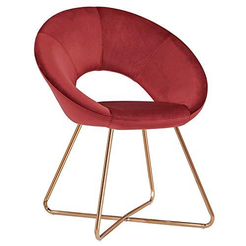 Duhome Esszimmerstuhl Stoffbezug (Samt) Rot Weinrot Konferenzstuhl Besucherstuhl herausragendes Design Farbauswahl 439D