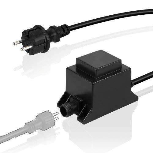 VBLED® 21W Netzteil/Trafo/Transformator 12V AC wassergeschützt IP67 für Außen- & Innenbereich, Input 230V Anschluss IP44 1,9 m Kabel für Gartenspot/Gartenstrahler [max. Dauerlast 85%]