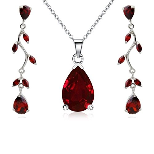 Teardrops Set with Red Zirconia Crystals Pendant Necklace 18