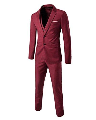 Uomo Adattata Degli 3 Tuta per il partito di nozze Blazer, gilet, pantaloni Bodeaux