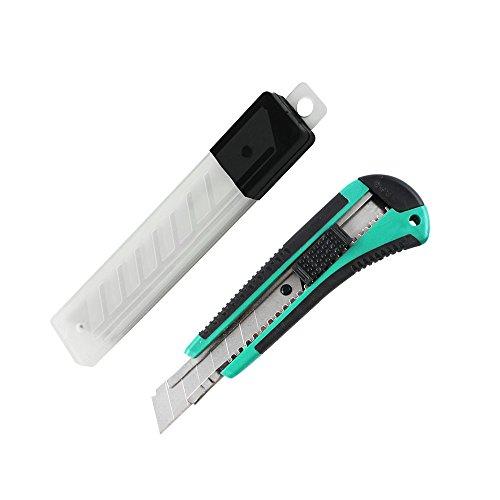Com-Four Cutter couteau 18 mm avec 12 lames de rechange,