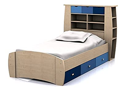 Sydney 3ft Cabin Bed with 3 Drawers - Large Storage Headboard with Shelves and Drawers - Pink or Blue Childrens Furniture
