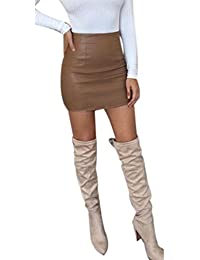 Lenfesh Mini-Jupe Crayon Courte - Femmes Sexy Bandage Jupe en Cuir - Taille  Haute 9509b50b58bf