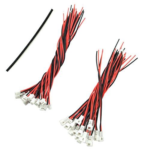 WOSKY 20 Paare 1,25 mm JST 2 Pin Mikro Elektronik Männlichen und Weiblichen Steckverbinder Stecker mit 8 cm/10 cm Draht Kabel (Metall-wand 7)