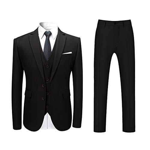Allthemen Herren Slim Fit 3 Teilig Anzug Modern Sakko für Business Hochzeit Party Hochzeit Schwarz Medium