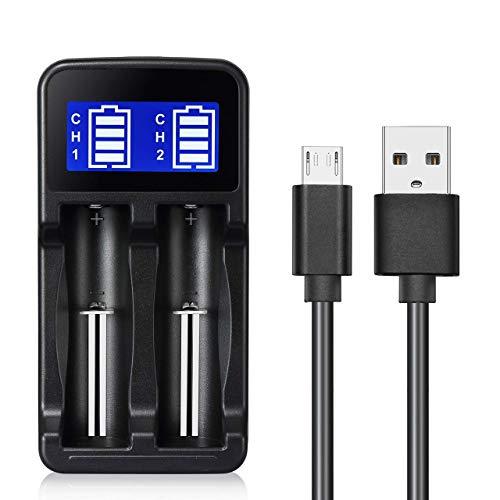BESTSUN Universal-Ladegerät schnelle, automatische Doppel-Channel-Dual-Anschluss, wiederaufladbarer Akku Ladegerät, USB-Kabel für 1,2 V/AA/AAA Akkus 3,7V/18650, 18500, 17650, 16340, 14500, 10500 Akkus