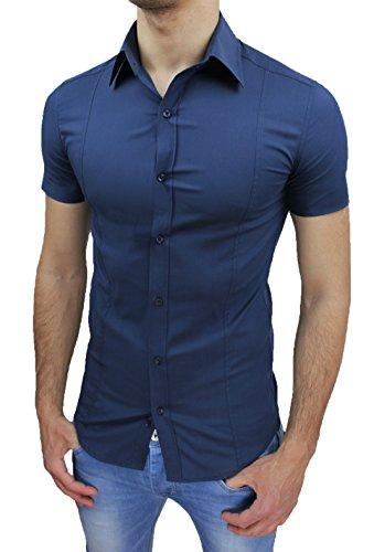 1e8ca52650 AK collezioni Camicia Uomo Slim Fit Blu Aderente Elasticizzata Manica Corta  Casual