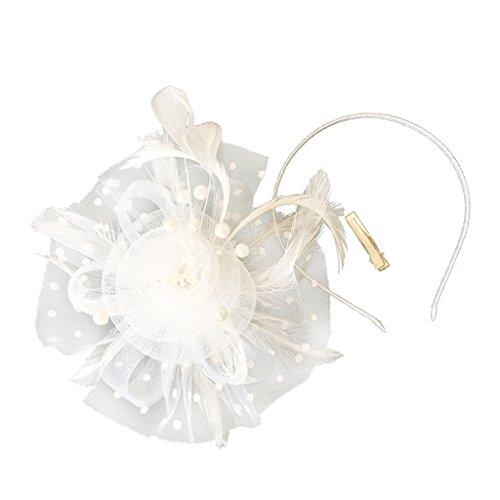 MagiDeal Feder Blumen Fascinator Haarreif Braut Headpiece Hochzeit Kopfbedeckungen für 1920s Gatsby Party - Weiß