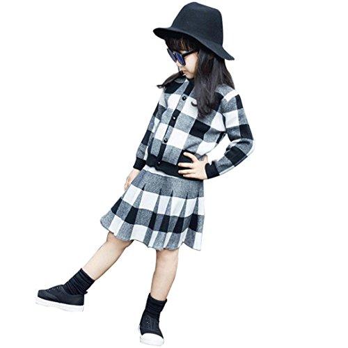 BURFLY Kinderkleidung ♥♥2017 Nette Mädchen-Kleidung offene Stich-lange Hülsen-Strick-Wolljacke-Rock-Satz (Strickjacke + Rock) (5 Jahre alt, (Halloween Baby Kostüm Rock Star)