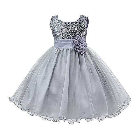 EXIU Summer Baby Girls Birthday Wedding Party Princess Dress 0-2 Years, Gray, 6-12 months/Tag M