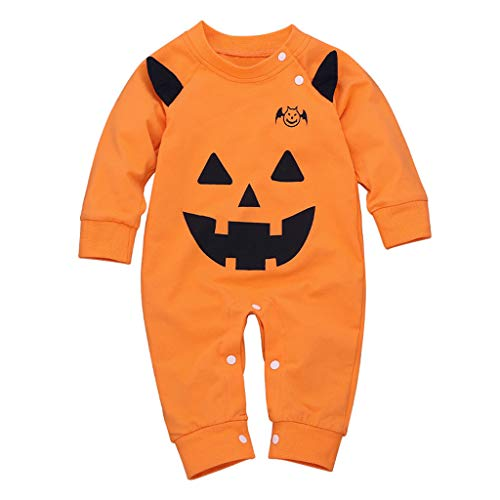 ToDIDAF Halloween Kostüm 0-2Y Infant Langarm Halloween Cosplay Kürbis Einteiler für Halloween Party Festival Karneval Parade Orange - Süßeste Kostüm Frauen