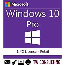 Windows 10 Professional Retail 1PC | Entrega electrónica de software Descarga versión completa de 32 y 64 bits + instrucciones de TW, Factura y garantía en España