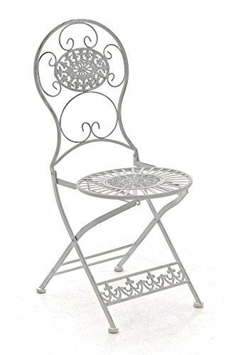 ... Klappstuhl Aus Eisen In Antiker Form, Nostalgischer Gartenstuhl   Farbe  Antik Weiß, Landhaus Balkonstuhl