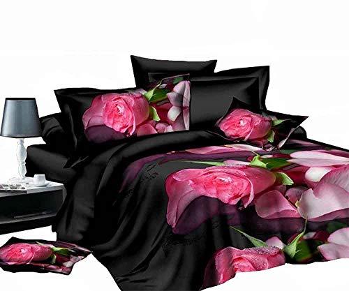 ZQYY 3D Blumen-Serie, Luxus Bettwäsche 4-teiliges Set, Mikrofaser, Bettbezug:200 * 230cm*1, Kopfkissenbezug:48 * 74cm*2, Bettlaken:250 * 250cm*1