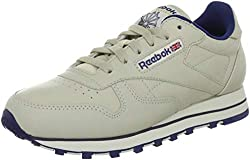 Reebok Womens Classic Leather Training Running Shoes Beige (Ecru/Navy) 5 UK