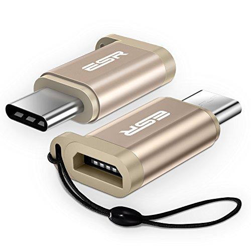 ESR USB C Adapter auf Micro USB [2 Stück], Premium Aluminium USB C to Micro USB Adapter mit Band, 56KΩ Widerstand für MacBook/Samsung S9/S9 Plus/S8/S8 Plus/HTC/Pixel, und weitere -Gold - Aluminium-sicherheits-geldbörse