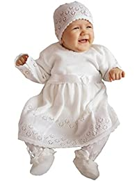 deine-Brautmode Babykleid Taufkleid Strickkleid Festkleid Baby Taufe Kleid gestrickt