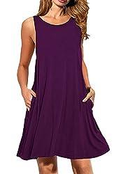OMZIN Damen Casual Sommer Ärmellos Taschen Stretchy Tee Shirt Kleid Violett L