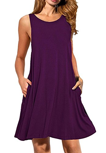 OMZIN Damen Oversized Tank Shirt Kleid Casual Swing Leger Kleid Violett M