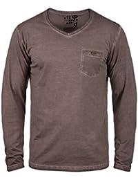 ca42bbba98338d Solid Terkel Herren Longsleeve Langarmshirt Shirt mit V-Ausschnitt und  Brusttasche aus 100%