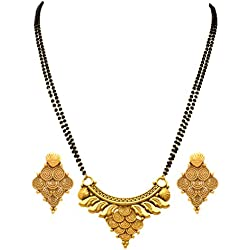 Jfl - Jewellery For Less Traditional Ethnic One Gram Gold Plated Spiral Mangalsutra With Earring And Double Black Beaded Chain For Women