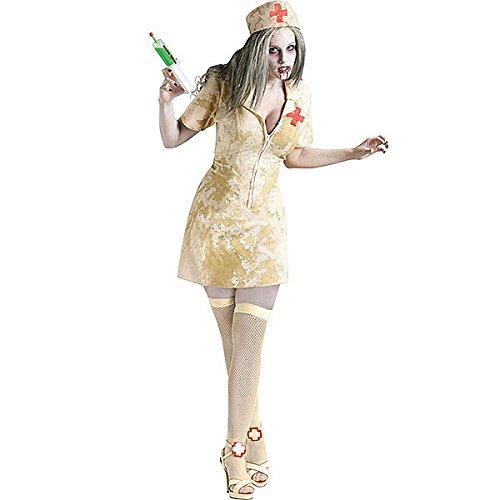 e Zombie-Krankenschwester Hallloween-Kostüm beige-grün S / M ()
