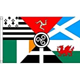 0.91 meters x 0.61 meters (90 x 60 cm), mit keltischem Nationen Bretagne-Insel Man Cornwall, Irland, Schottland, Wales, 100% Polyester, Banner, Material Fahne Flagge Ideal für Pub, Club, Schulfest Business Party Dekoration