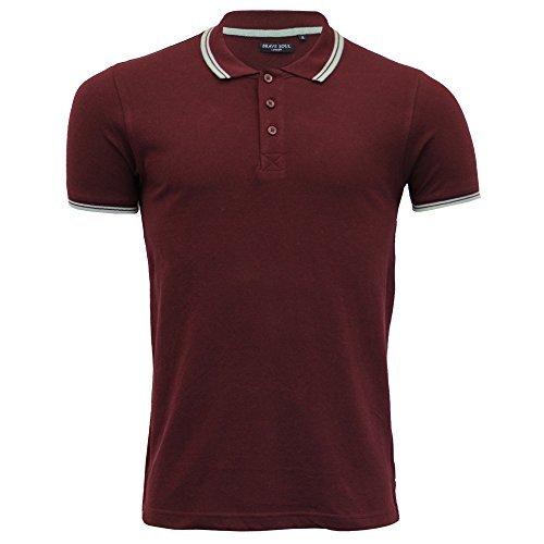 Hommes Polo T-Shirt par Brave Soul 'Kennedy' Col Rayure Fine Manche Longue (Hera - Noir) S 7NOqiUz8