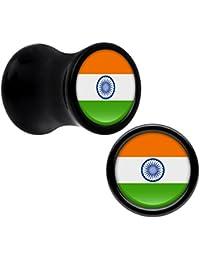 Acrílico Negro India Bandera Dilatador Par 2 Escala