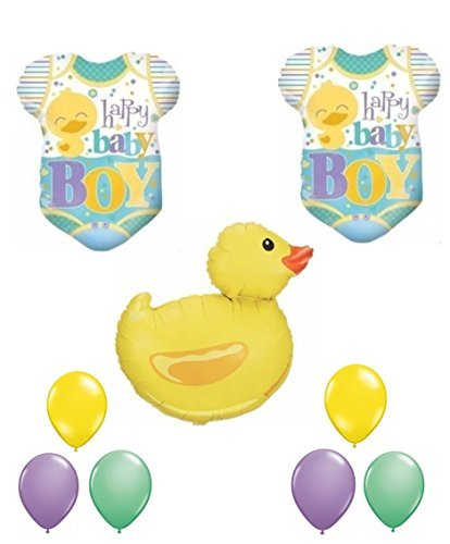 Happy Baby Boy Rubber Ducky Baby Shower Balloon Set by Party Supplies - Ducky Baby Shower