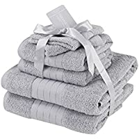 Dreamscene Luxury Supersoft 6 Piece Hand Bath Towel Bale 100% Cotton - Silver