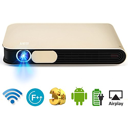 WOWOTO DLP Mini Beamer 3D Full HD LED Projektor 3500 Lumens Unterstützt 1080p mit Akku Android 4.4 OS WiFi HDMI USB AV AirPlay Bluetooth für Laptop Handy Tablet PC TV - 1080p Mini-projektor