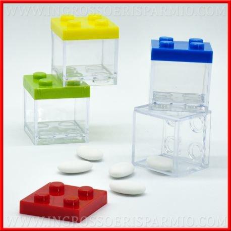 12 pz scatola plexiglass portaconfetti incastro tipo lego multicolore bomboniera