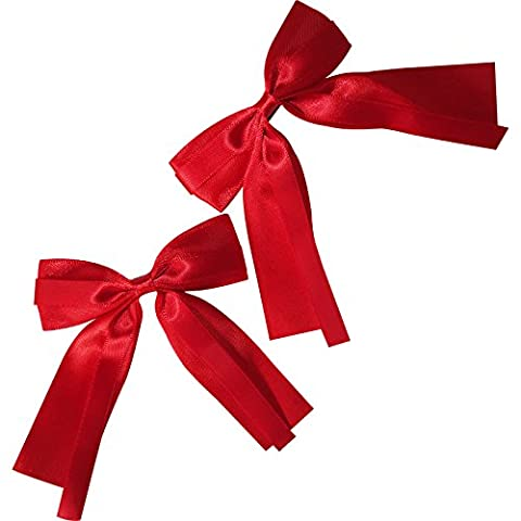 Pair of Red Hair Bow Ribbon Clips Grips Girls Toddler Childrens Kids Accessories