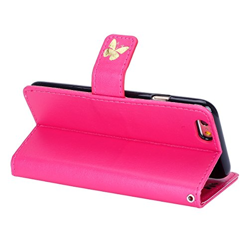 iPhone 5C Hülle, iPhone 5C Hülle Ledertasche Brieftasche im BookStyle, SainCat PU Leder Wallet Case Folio Schutzhülle Muster Hülle Bumper Handytasche Skin Schale Soft Backcover Handy Tasche Flip Cover Golden Butterfly-Rose Red