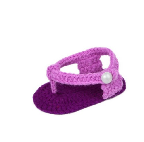 Smile YKK Gestrickte Krabbelschuhe Schuhe flauschige Baby-Unisex Länge 11 cm Flip Flops Violett (Flip Flops Baby)