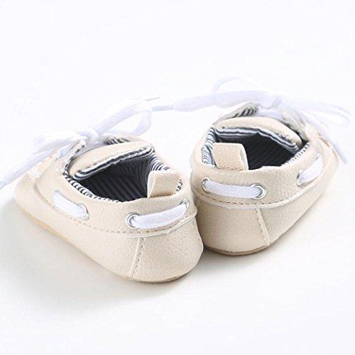 Baby schuhe Jamicy® Baby Mädchen Jungen Schnürung Leder Turnschuh rutschfeste weiche Sole Kleinkind (6~12 Monat, Schwarz) Beige