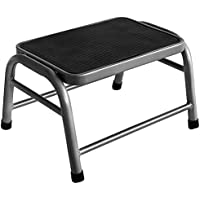 Home Vida One Step Stool Metal Anti Slip Rubber Mat In Silver, Bathroom Kitchen Baby