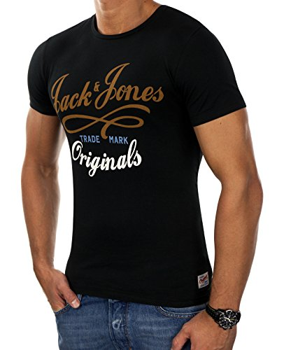 Jack & Jones Herren T-Shirt Shirt Oberteil NEW QUAY TEE Blau Weiß Grau Rot Slim Fit (M, Schwarz (Black Fit:SLIM))
