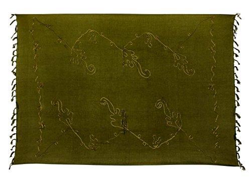 Premium Sarong Pareo Wickelrock Strandtuch Lunghi Dhoti Schlicht Blickdicht Tolle Stickerei Khaki Olive Dunkel Grün PE00